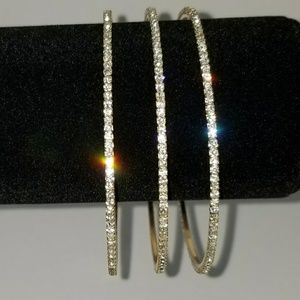 """New"" 3pc Gold Cubic Bracelet Set"